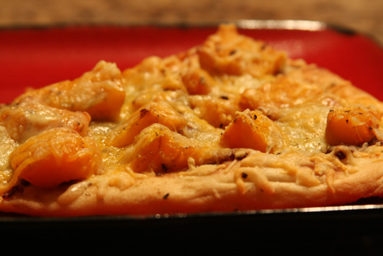 Butternut squash pizza with caramelized onions and blue cheese