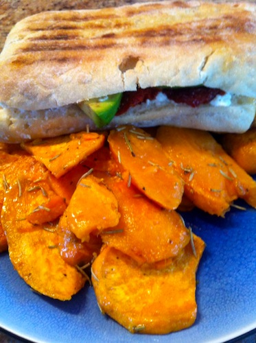 Panini with sweet potato slices