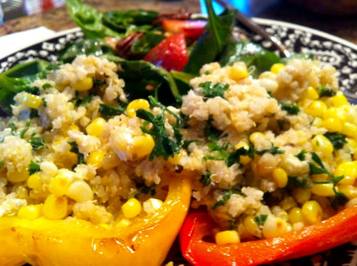stuffed bell peppers and strawberry spinach salad
