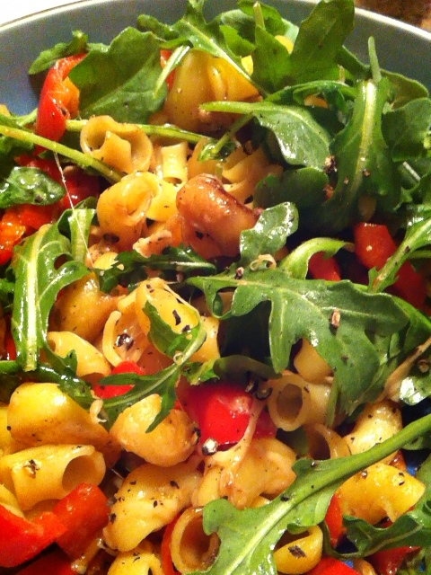 quinoa pasta with bell pepper, parmesan, and arugula